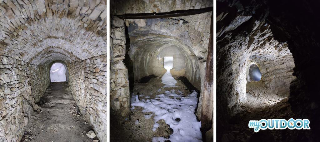 Gallerie tappate dalla neve e postazioni da artiglieria a Monte Palon. Trekking della Grande Guerra
